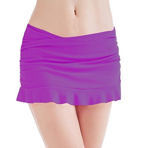 Tumon Bay Women's Swim Skirt Bikini Bottoms Ruffle Short Swimsuit (16, Purple)