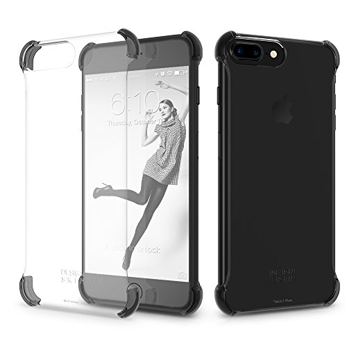 iPhone 7 Plus/iPhone 8 Plus Case DesignSkin [Corner] Shock Absorbing Ultra Slim Light Thin Protection Transparent Basic Back Bumper Case Minimalist Compatible w/iPhone 8+/7+/6s+/6+ (Black Corners)
