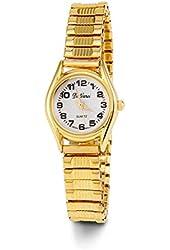 Women's Gold Tone Stretch Band Quartz Bracelet Watch