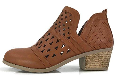 Steven Ella Women's Audrey Ankle Bootie Cut Out V Side Faux Leather Flat Heel Zipper, Tan, (Brown Leather Low Heel)