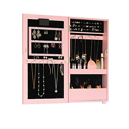 GUIQN Jewelry Cabinet with Mirror Dressing Mirror Bathroom Mirror Wall Mounted Vanity Mirror Large Capacity Storage Cabinet Jewelry Cabinet Mirror Jewelry Organizer Door Mounted Jewelry Organizer
