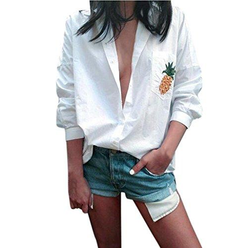 IEason Women Blouse 2017 Hot Sale! Women Blouse Long Sleeve Shirt Loose Pocket Shirts V Neck Tops (S, White) - Adapter Womens Long Sleeve