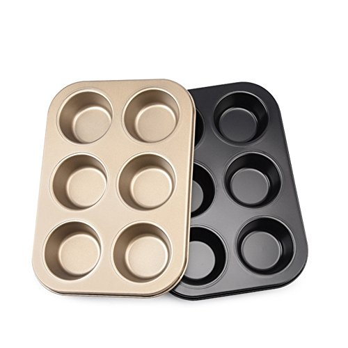 Muffin Cup Shape Non-Stick Carbon Steel Madeleine Pans Mold for Cake Cookie Biscuit Chocolate Kitchen Baking Tools Black Golden ( Pack of 2 )