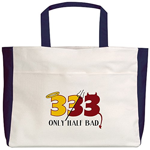 Royal Lion Beach Tote (2-Sided) 333 Only Half Bad Angel Halo Devil - Navy by Royal Lion