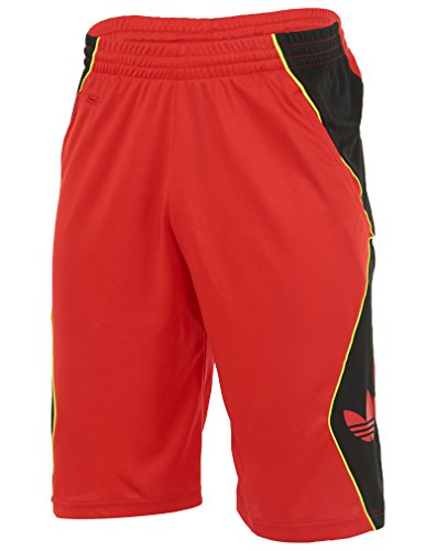 adidas Originals Men's Trefoil Hoop Shorts, Red/Black, Mediu