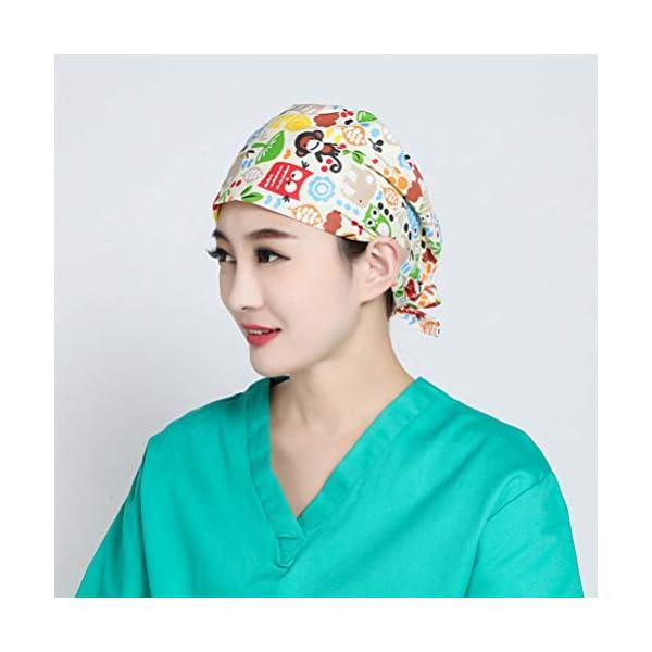 TENDYCOCO 1 Unid Algodón Mono Búho Correa Impresa Sombrero de Trabajo Quirófano Gorro Médico Gorro de Enfermera Sombrero… 10