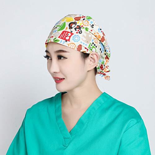 TENDYCOCO 1 Unid Algodón Mono Búho Correa Impresa Sombrero de Trabajo Quirófano Gorro Médico Gorro de Enfermera Sombrero para Médico Y Enfermera 9
