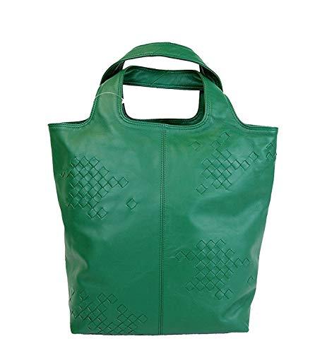 Bottega Veneta Woven Detail Green Leather Tote Bag 297981 3105