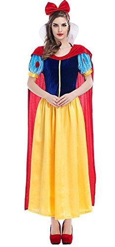 Snow Woman Halloween Costume (Mumentfienlis Womens Snow White Costumes Halloween Princess Costume Dress Size L Blue&Yellow)
