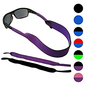 Glasses and Sunglasses Active Strap - 2 Pack   Anti-Slip and Fast Drying Sport Glasses Strap   COLORS (Purple + Black)