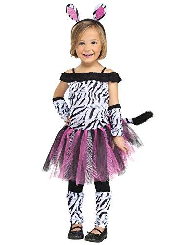 Fun World Costumes Baby Girl's Zebra Toddler Costume, Black/White, -