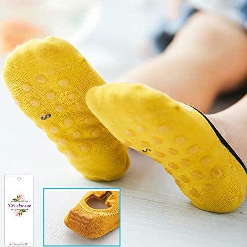 Non Slip Ultra Low Cut Cute Socks ,Set 5,1-8 Years XM-Amigo 5 Pairs Baby Kids No Show Cotton Socks Ankle Socks Anti Slip