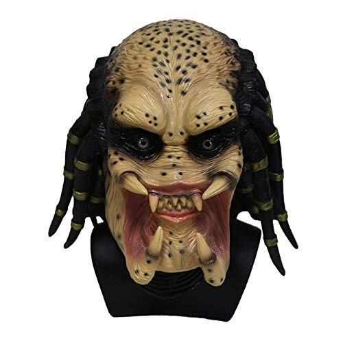 Predator Latex Mask. Full Head Hunter Bead Eyes, Moulded Realistic Dreadlocks. Fancy Dress Party, Horror or Movie Costume -