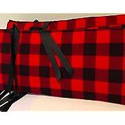 AllTot Crib Bumper- Red and Black Buffalo Plaid Crib Bumper - Woodland Crib Bedding Handmade in The USA