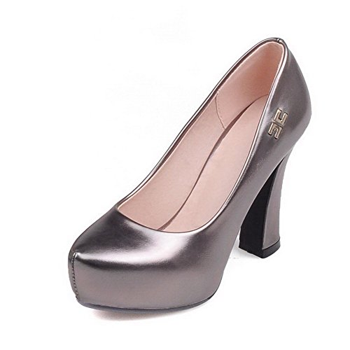 À Cuir Légeres Pu Chaussures Haut Talon Gris Unie Femme Rond Tire Couleur Allhqfashion SqwEgH