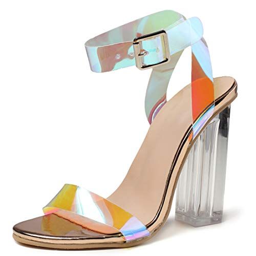 Women's High Heel Platform Dress Pump Sandals Ankle Strap Block Chunky Heels Party Shoes - Holographic Red 7