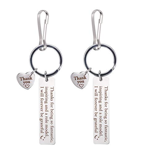 Teacher Appreciation Gifts Key Chains & Key Rings,2PCS Thank You Key Chain Set for Men and Women-Thank You for Being So Fantastic Teachers Birthday Graduation Christmas Gifts for Teachers (Heart C)