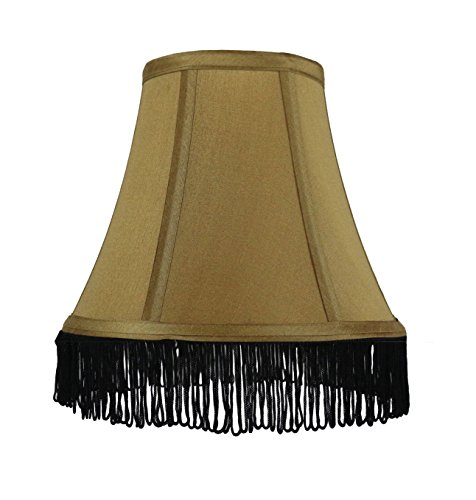 Urbanest Gold with Black Fringe Silk Bell Chandelier Lamp Sh