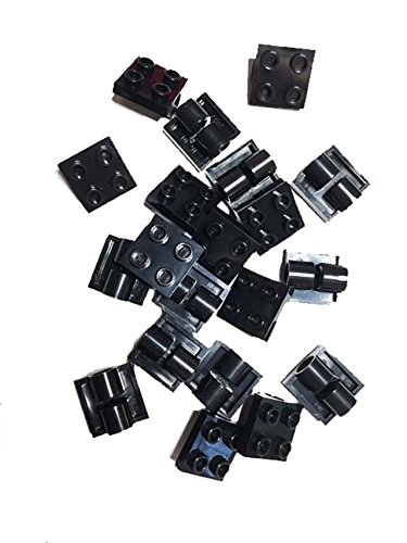 Lego Parts: Plate, Modified 2 x 2 with Pin Hole, Black, 20 count (20k Part Black)