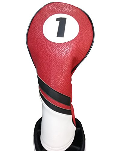 - Majek Retro Golf Headcover Red Black and White Vintage Leather Style 1 Driver Head Cover Fits 460cc Drivers