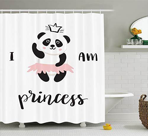 Ambesonne I am a Princess Shower Curtain, Funny Ballerina Panda Bear Dancing in Pink Skirt Baby Kids Girls, Cloth Fabric Bathroom Decor Set with Hooks, 70