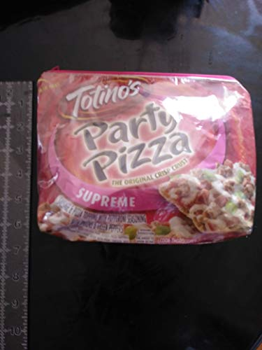 Upcycled Totinos Supreme pizza zippered bag by Zippin Needles