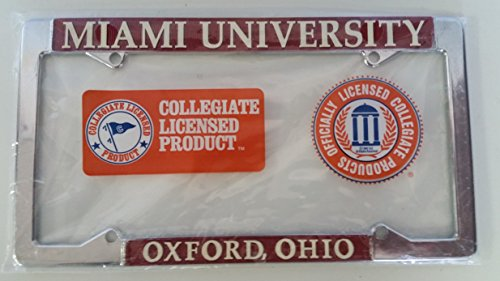 New - Miami of Ohio Red Hawks Metal License Plate Frame - Auto Car Truck Chrome Oxford