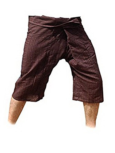 Thai Fisherman Pants Yoga Trousers Free Size 3/4 Cotton Stripe-Brown (Mossimo Black Belt)