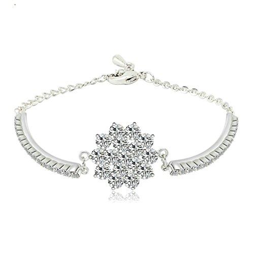 Daesar Gold Plated Bracelets Womens Charm Bracelet Flower White CZ Bracelet Adjustable Bracelet for Women Length:17CM