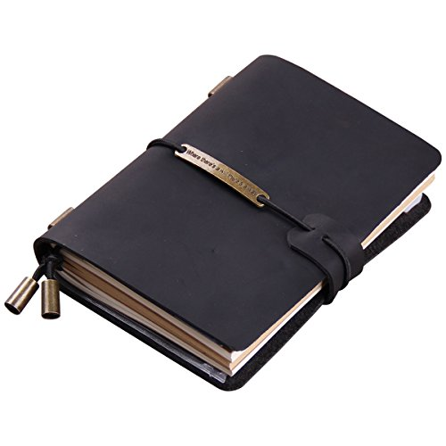 "Robrasim Refillable Handmade Traveler's Notebook, Leather Travel Journal Notebook for Men & Women, Perfect for Writing, Gifts, Travelers, 5.2"" x 4"" Inches - Black"