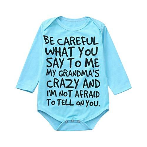 Lisin Newborn Infant Baby Kids Girl Boy Print Romper Jumpsuit Short Sleeve Outfits Sunsuit Clothes (Size:0/6Months, Blue - Long Sleeve)