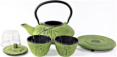 (Japanese Antique Green Pine Plum Bamboo Cast Iron Teapot Tetsubin with Infuser Tea Set with Trivet )