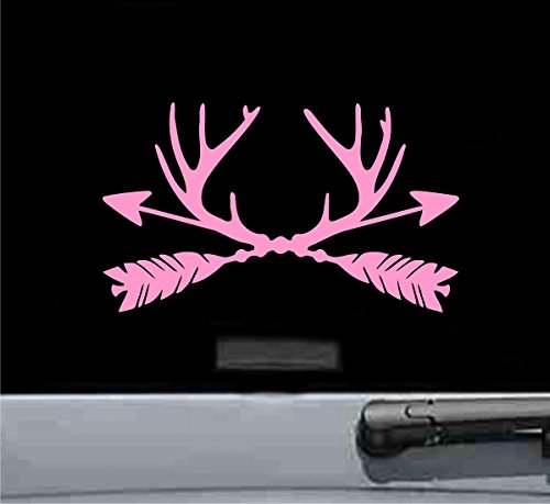 Antler arrows Vinyl Decal Sticker Deer Buck Hunting Hunt (SOFT PINK) ()