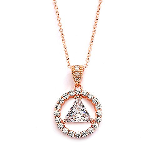 Family Unity Medallion - Mariell 14K Rose Gold Plated AA Recovery Necklace CZ Unity Pendant - Great Jewelry Gift for Sober Women