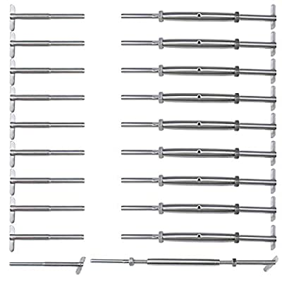 """Muzata 1/8"""" Invisible Cable Railing Kit,10Pack Lag Swage Turnbuckle Tensioners and 10pack End Fittings,T316 Marine Grade Stainless Steel,10Pair Wire Rope Rail Hardware CK21,Series CA1 CS1"""