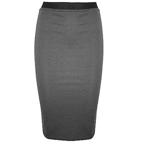 Womens 26 8 Work Grigio Stretch Mini Size Pencil Janisramone Office Skirt Plain Bodycon Midi Ladies AwdAH1