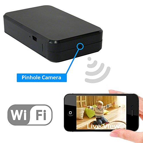 WiFi Hidden Spy Camera | 1080P HD Motion Activated DVR IP Nanny Cam | Wireless, P2P, Self Contained | Internet Streaming Mini Black Box -View Live Iphone Android Tablet Computer | Easy To Set Up & Use