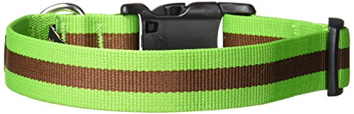 fabdog Classic Stripe Dog Collar Green (Medium)