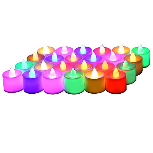 24 Pack Flameless Tealight Candles - 7 Color Changing Battery Operated Led Tea Lights - Electronic Fake Candles - Decorations for Wedding, Party, Christmas, Halloween (7 color changing)