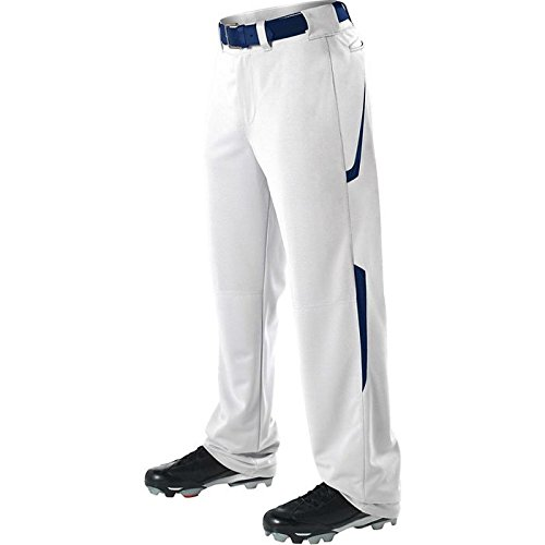Alleson Adult Relaxed Fit - 2 Color Open Bottom Baseball Pants - White/Navy - Large