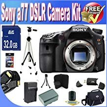 Sony A77 24.3 MP Digital SLR Translucent Mirror Technology (Body Only) W/8GB SDHC Memory + Extended Life Battery + Deluxe Case w/Strap Accessory Saver Bundle 24.3 Mp Translucent Mirror