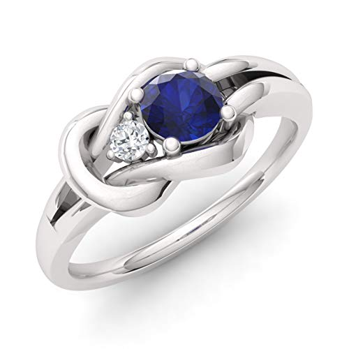 Diamondere Natural and Certified Blue Sapphire and Diamond Engagement Ring in 14K White Gold | 0.34 Carat Infinity Knot Ring Size 6.5