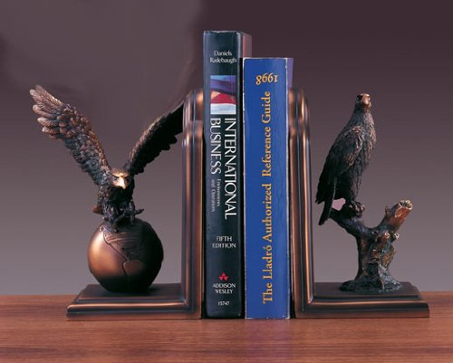 Bookends Set Eagle Bronze Plated Statue Sculpture NIB by BullMarketGifts