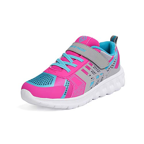 (DREAM PAIRS Girls KD18002K Lightweight Breathable Running Athletic Sneakers Shoes Grey Fuchsia Blue, Size 13 M US Little Kid)