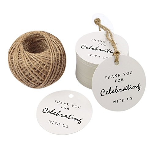 Thank You for Celebrating with Us Tag,Original Design Paper Gift Tag,100 PCS Kraft Tags with 100 Feet String for Wedding,Baby Shower, Party Favor (White) ()