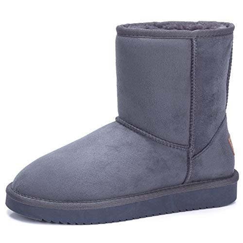 Women's Warm Winter Boots Ankle High Classic Vegan Suede Faux Sheepskin Shearling Snow Boots Grey-1,Size 8.5