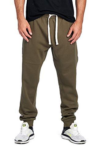 ProGo Men's Casual Jogger Sweatpants Basic Fleece Marled Jogger Pant Elastic Waist (Small, ()