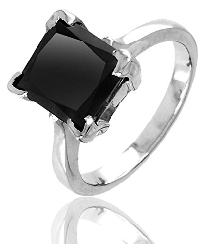 Skyjewels 4.00 ct Black diamond ring in 925 silver.Certified.Earth Mined.AAA by skyjewels