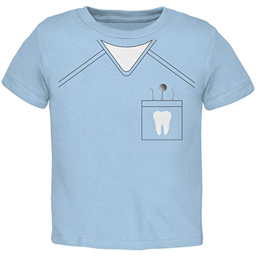 [Halloween Dentist Scrubs Costume Light Blue Toddler T-Shirt - 2T] (Scary Dentist Costume)
