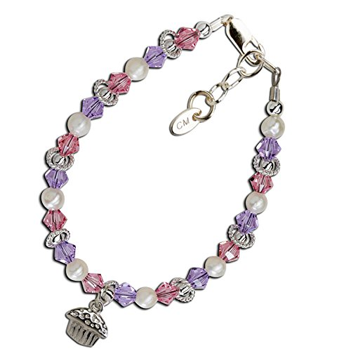 Precious Pieces Girl's Sterling Silver Cupcake Bracelet with Cultured Pearls and Swarovski Crystals (Piece Of Cake Charm)